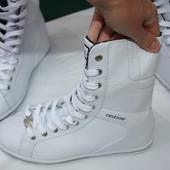 Фирменные белоснежные кожанные + эко кожа ботинки Restime