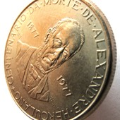 #24монета Португалия, юбилейная, 25 эскудо, 1977, 100 лет со дня смерти Алешандре Эркулано