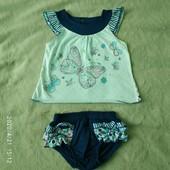 Костюм летний на девочку 3-6мес, футболочка и трусики