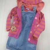 Набор джинсовий сарафан Mexx и трикотажный кардиган George 2-3 года для девочки.