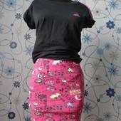 Хлопковая юбка bershka в принт M