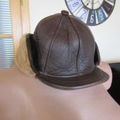 Мужская зимняя кепка из натуральной кожи и овчины, состояние отличное, объем 57