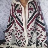 Кардиган с капюшоном, крупной вязки, размер 54