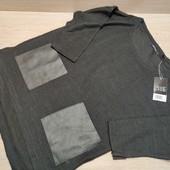 Германия! Симпатичный лёгкий свитер с укороченными рукавами и карманами из искусственной кожи! 32/34