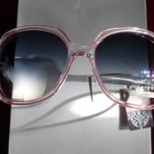 Красивые солнцезащитные очки Eternal. 100% протектор защиты. Прозрчная оправа с розовой полоской