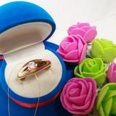 Новинка!!!Шикарное колечко c нежно- розовым кристаллом позолота 585 пробы р16_17_18,5