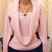 Нежно-розовый свитерок р.М,L с кольцом!!!