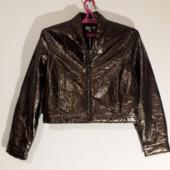 куртка -бомбер с легким утеплителем,кожзам-металлик/бронза,Оle,l.