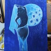"""Интерьерная картина ,,Луна и девушка""""размер 35на22см"""