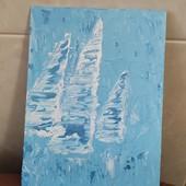 """Авторська Об'ємна інтерна картина """"Вітрильники в морі"""" розмір 18х24"""