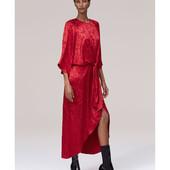 Zara jacquard midi red dress. Отличное состояние. Читать описание!