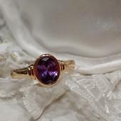 очень красивое кольцо с фиолетовым алпанитом, р. 19, позолота 585 пробы