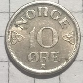 Монета Норвегии 10 эре 1953