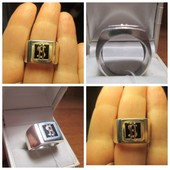 Крутое кольцо серебро 925пр.+ золото 585 пр.с изображением Доллара! Новое с биркой!