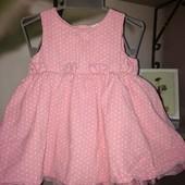 Вельветовое платье сарафанчик розовый в белый горошек на 6/9 месяцев