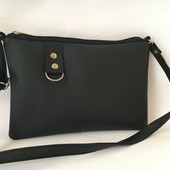 Маленькая стильна чёрная сумочка через плечо