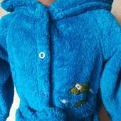 Тепленький м'якенький пухнастий халатик із мікрофібри у ідеальному стані 2 роки Зріст 92 заміри