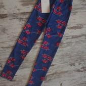 Модные леггинсы лосинки джинсово цветочный принт. Плотные с подкладом.