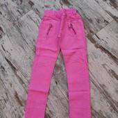 Модные коттоновые цветные брюки скинни талия на резинке 146р,79/шаг59см облегченный Коттон