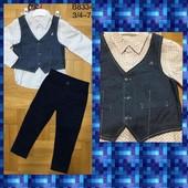 Суперовый нарядный костюм 3ка 3/4года 98/104рост Grace дорого и стильно