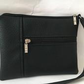 Шикарная чёрная сумочка через плечо
