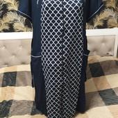 Женский халаты из хлопка с эластаном, полномерный р.2xl, темно синий