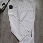 Крутые брюки лён карманы пояс