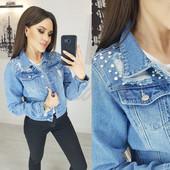 Классная куртка джинсовая с жемчугом new jeans Размер XS, можно подростку