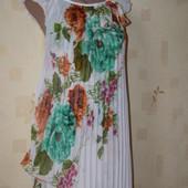 Шикарное платье плиссе миди на лето цветы SML-размер