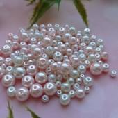 Перлини скло-кераміка 4,6,8мм, 120 шт! Колір ніжний рожевий, молочний!