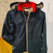 куртка демисезонная темносиняя H@M 9-10 лет флис с отражателями, можно брать на вырост