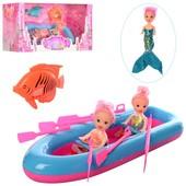 """Готовим подарочки девчонкам! Большой игровой """" набор 3 куколки с лодкой длина28см!"""