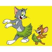 """Алмазная вышивка """"Том и Джерри"""" .Полная выкладка. Холст 40*30 см"""