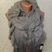 Шикарный нарядный мягусенький тепленький серый шарф 165/26 Новый с биркой Акция