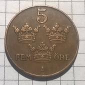 Монета Швеции 5 эре 1930