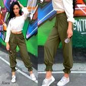 Бомбездные штаны, эластичный трикотаж, цвет хаки. Качество.