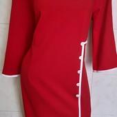 Новое, Красное трикотажное платье на р. 60 ( по бирке 62)