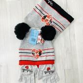 ❤️ Disney! Шикарные комплекты! Лимитированная серия! Мини маус. Шапка Деми + снуд +перчатки