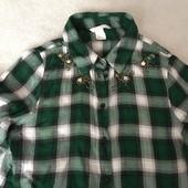 Рубашка в клетку H&M 100% вискоза 34, 160/80A с декоративным украшением