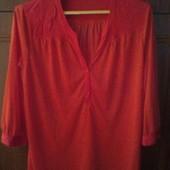 Трикотажная рубашка блуза кирпичного цвета