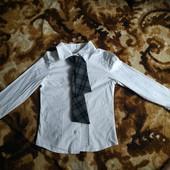 Белая рубашка школьная на девочку, 122