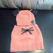 Вязанный комплект шапка + хомут. Ручная работа в идеале