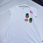 Стоп!! Фирменная удобная яркая натуральная футболка с паетками и вышивкой от Zara