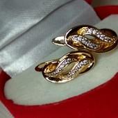 Сережки с белым цирконом,медзолото, позолота 585 пробы