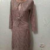 Шикарное нарядное нежное нюдовое ажурное платье Reiss р.S Новое Акция читайте