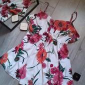 Милая блуза в цветы сзади поясок большой размер батал