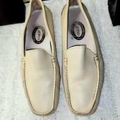 Кожаные туфли мокасины натурального бежевого цвета стелька 24,5 см