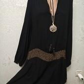 Шикарная нарядная черная туника с золотой вышивкой Zara Акция читайте
