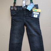 Lupilu чёрные джинсы стрейч с подтяжками размер 86-92
