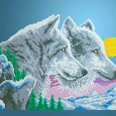 "Велика схема для вишивки бісером ""Волки и луна"" формат А3"